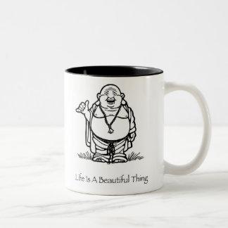 La vida es una taza de café hermosa de Buda de la