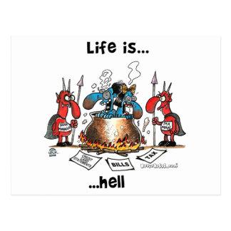 La vida está infierno tarjetas postales