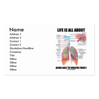 La vida está todo sobre poder respirar libremente tarjeta de visita
