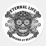 La vida eterna comienza en la muerte pegatina redonda