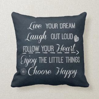 La vida feliz gobierna afirmaciones de las citas cojines