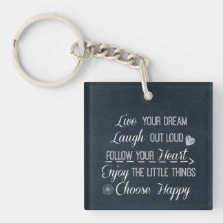 La vida feliz gobierna afirmaciones de las citas llavero
