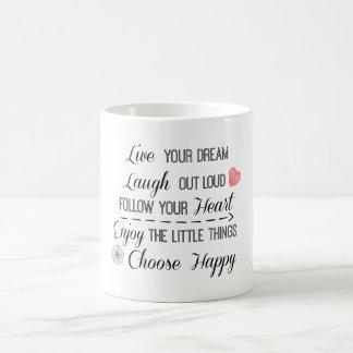 La vida feliz gobierna afirmaciones de las citas taza clásica
