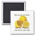 La vida le da humor de los limones imán de frigorifico