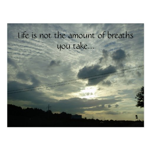 La vida no es la cantidad de respiraciones usted… tarjeta postal