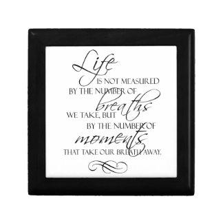 La vida no es medida por las respiraciones que tom cajas de joyas