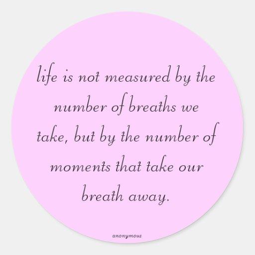 la vida no se mide pegatina redonda