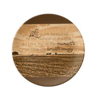La vida no se mide plato de cerámica