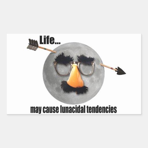 La vida… puede causar tendencias lunacidal rectangular pegatinas