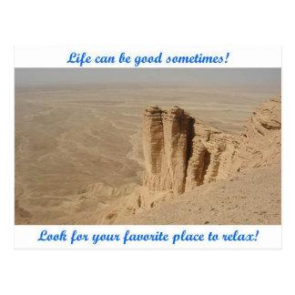 La vida puede ser buena - borde del mundo tarjetas postales
