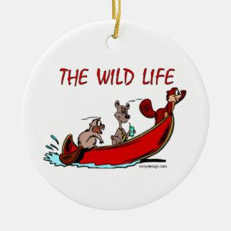La vida salvaje adorno navideño redondo de cerámica