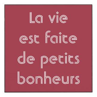 La vida se hace de pequeña cita del francés de los impresión en madera