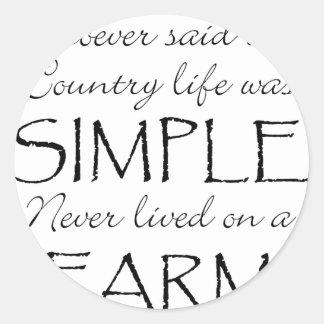 La vida simple pegatina redonda