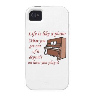 LA VIDA TIENE GUSTO DE UN PIANO VIBE iPhone 4 FUNDAS
