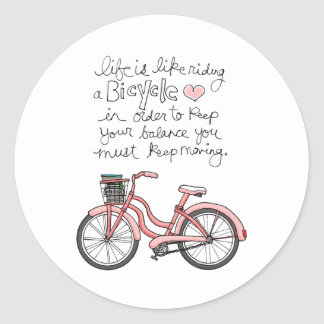 la vida vol25 es como montar una bicicleta pegatina redonda