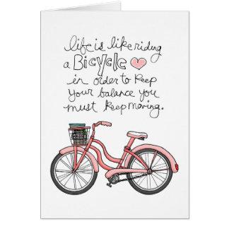 la vida vol25 es como montar una bicicleta tarjeta de felicitación