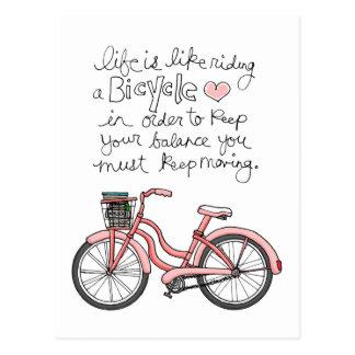 la vida vol25 es como montar una bicicleta tarjetas postales