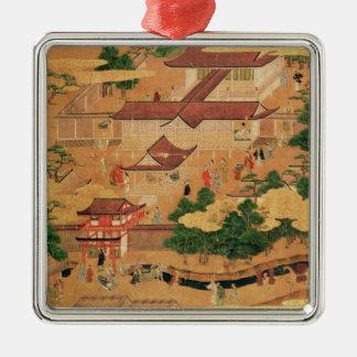 La vida y los pasatiempos de la corte japonesa, adorno navideño cuadrado de metal
