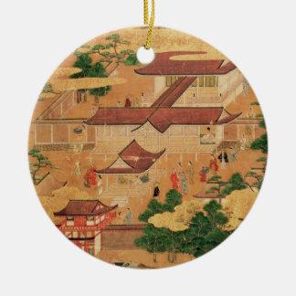La vida y los pasatiempos de la corte japonesa, adorno navideño redondo de cerámica