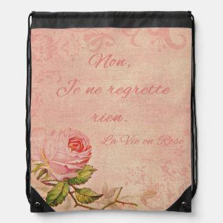 La Vie En Rose Drawstring Backpack