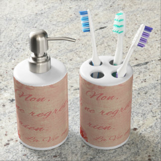 La Vie En Rose Soap Dispenser And Toothbrush Holder