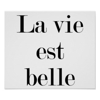La vie est belle, (life is beautiful in French)