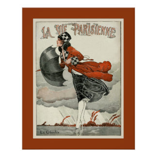 La Vie Parisienne ~ La Giboulee ~ Sleet 1918 Poster