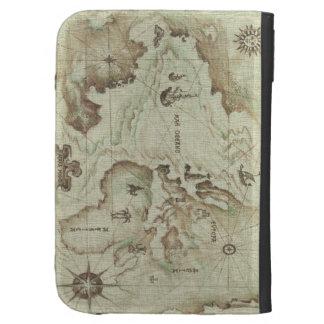 La vieja caja del folio de Mapamundi para enciende