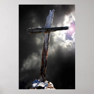 La vieja cruz rugosa póster