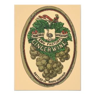 """La vieja etiqueta del vino del jengibre corrige el invitación 4.25"""" x 5.5"""""""