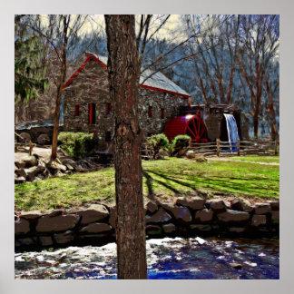 La vieja lona de pintura de Gristmill de la granja Póster