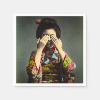 La vieja mano de Japón del vintage tímido del Servilleta Desechable