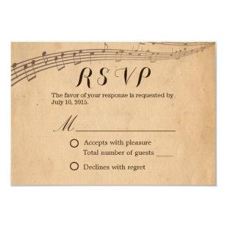 """La vieja música del vintage observa casar RSVP Invitación 3.5"""" X 5"""""""