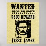 La vieja reproducción del oeste salvaje de Jesse J Posters