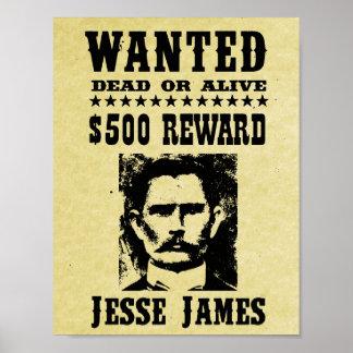 La vieja reproducción del oeste salvaje de Jesse Póster