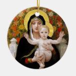 La Vierge au Lys, Bouguereau Double-Sided Ceramic Round Christmas Ornament