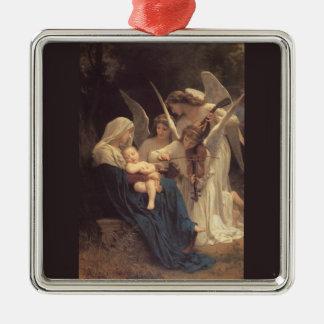 La Vierge Aux Anges Square Metal Christmas Ornament