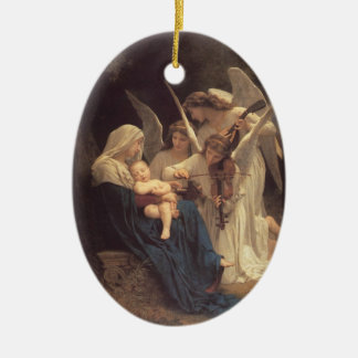La Vierge Aux Anges Double-Sided Oval Ceramic Christmas Ornament