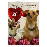 La vigésima chihuahua feliz del aniversario tarjeta de felicitación