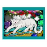 la vigilia del gatito tarjetas postales