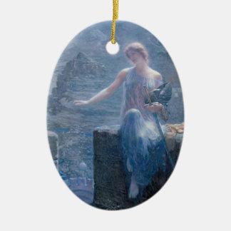 La vigilia del Valkyrie - ornamento Adorno Navideño Ovalado De Cerámica