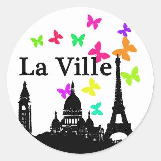 La Ville: París Pegatina Redonda