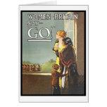 La vintage mujer de Gran Bretaña dice va poster de Tarjeton