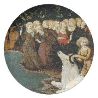 La violación del Europa, c.1470 (aceite en el pane Plato De Cena