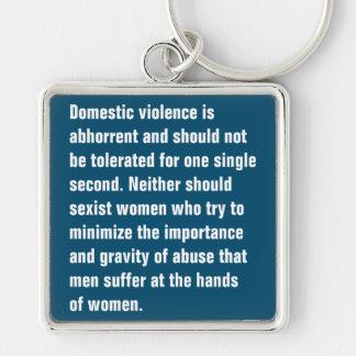 La violencia en el hogar es repugnante y debe… llavero cuadrado plateado