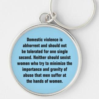 La violencia en el hogar es repugnante y debe… llavero redondo plateado