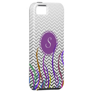 La violeta del arte abstracto de Chevron curva el  iPhone 5 Case-Mate Coberturas