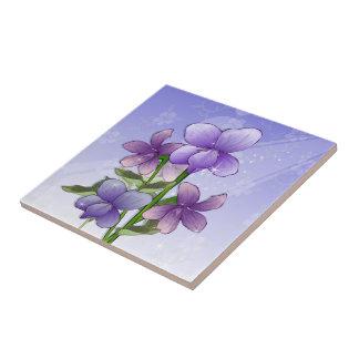 La violeta florece arte azulejo cuadrado pequeño