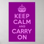 La violeta guarda calma y continúa posters