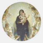 La Virgen con ángeles Pegatina Redonda